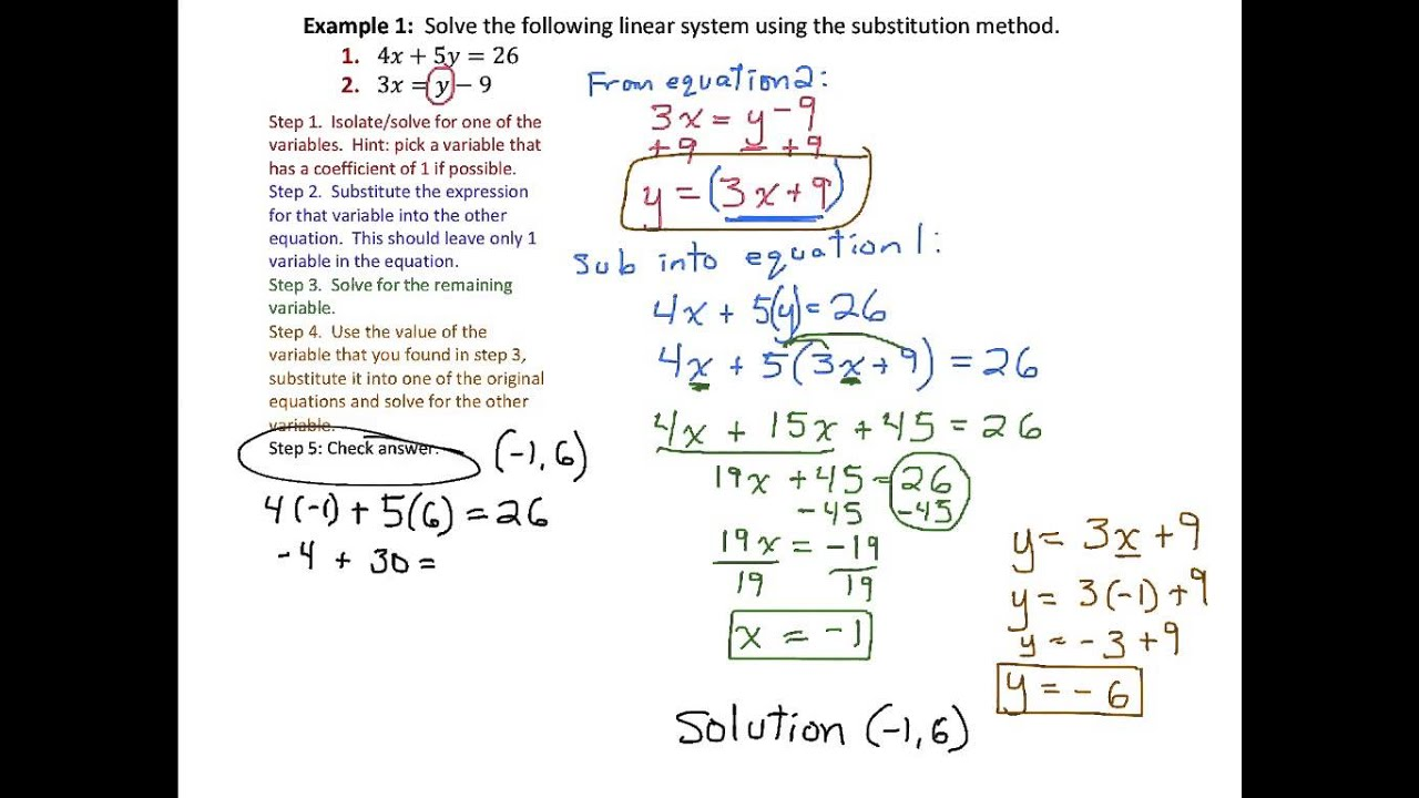 Solving Systems Of Linear Equations By Substitution Part 1 9 1 1