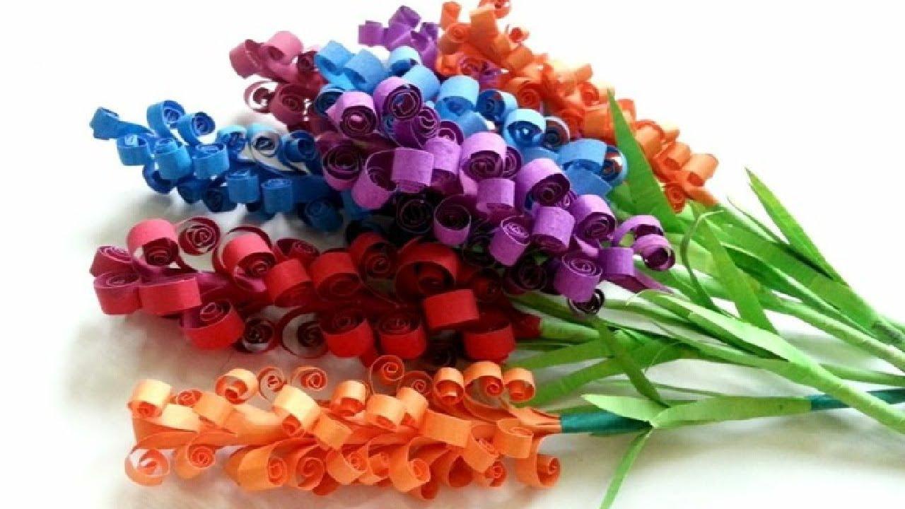 Hướng dẫn làm hoa oải hương bằng giấy cực dễ   Cách làm hoa giấy   Paper lavender  flower tutorial