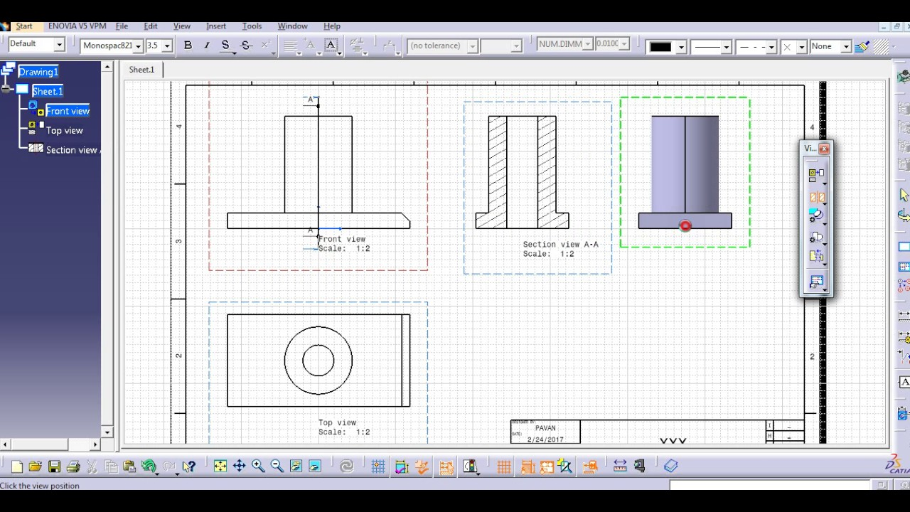 SECTIONS VIEW CATIA V5
