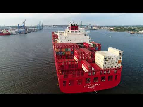 Drone Aerial Video of Cargo Ship Monte Tamaro Entering Port of Philadelphia PA