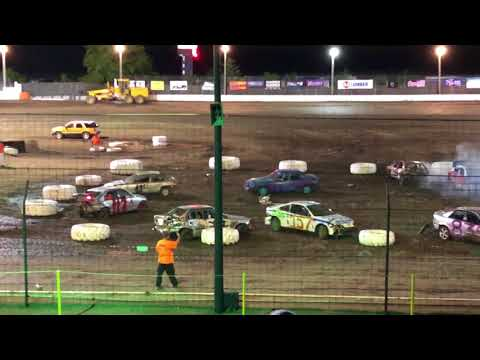 Pissed off driver gets out during demolition derby at Sycamore speedway