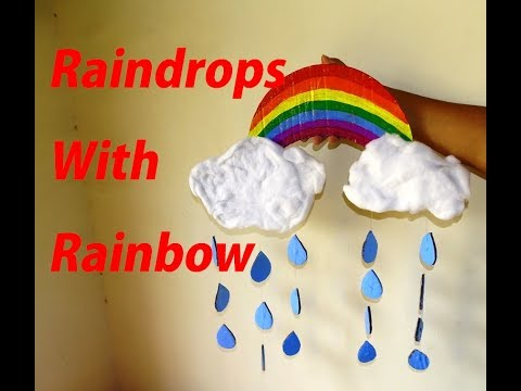 How to make Raindrops with Rainbow - Easy Kids craft Project