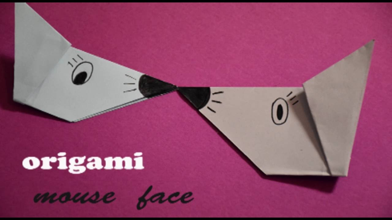 Easy Origami Mouse Face Tutorial Handmade Origamiorigami Diagramorigami Instructionsorigami Animals How To Fold An