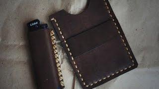 Работа с кожей. Картхолдер мини кошелек своими руками. Handmade Cardholder