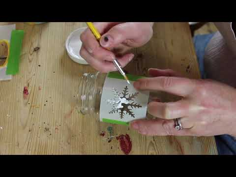 Painting a Snowflake Stencil with Thorndown Peelable Glass Paint