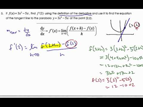 IB Finding the Derivative and Tangent Line Using First Principles