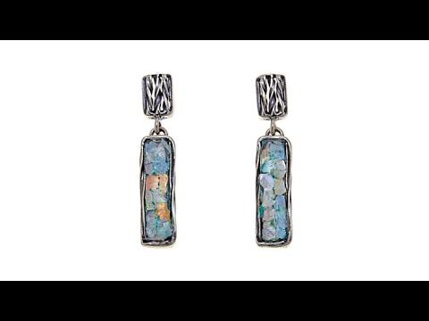 2b7cd0499 Noa Zuman Rectangular Bar Roman Glass Drop Earrings