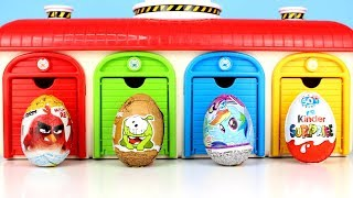 Tayo Garage Surprise Eggs Angry Birds Om Nom My Little Pony Kinder Surprise Eggs Opening for Kids