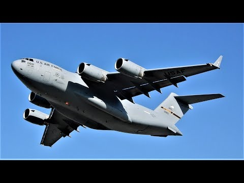 C-17 Reverse Thrust Backing Up & Departure