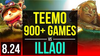 TEEMO vs ILLAOI (TOP) | 900+ games | NA Master | v8.24
