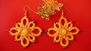 12' TUTORIAL ORECCHINI ROMBO CON PERLA CENTRALE CHIACCHIERINO AD AGO EARRINGS NEEDLE TATTING