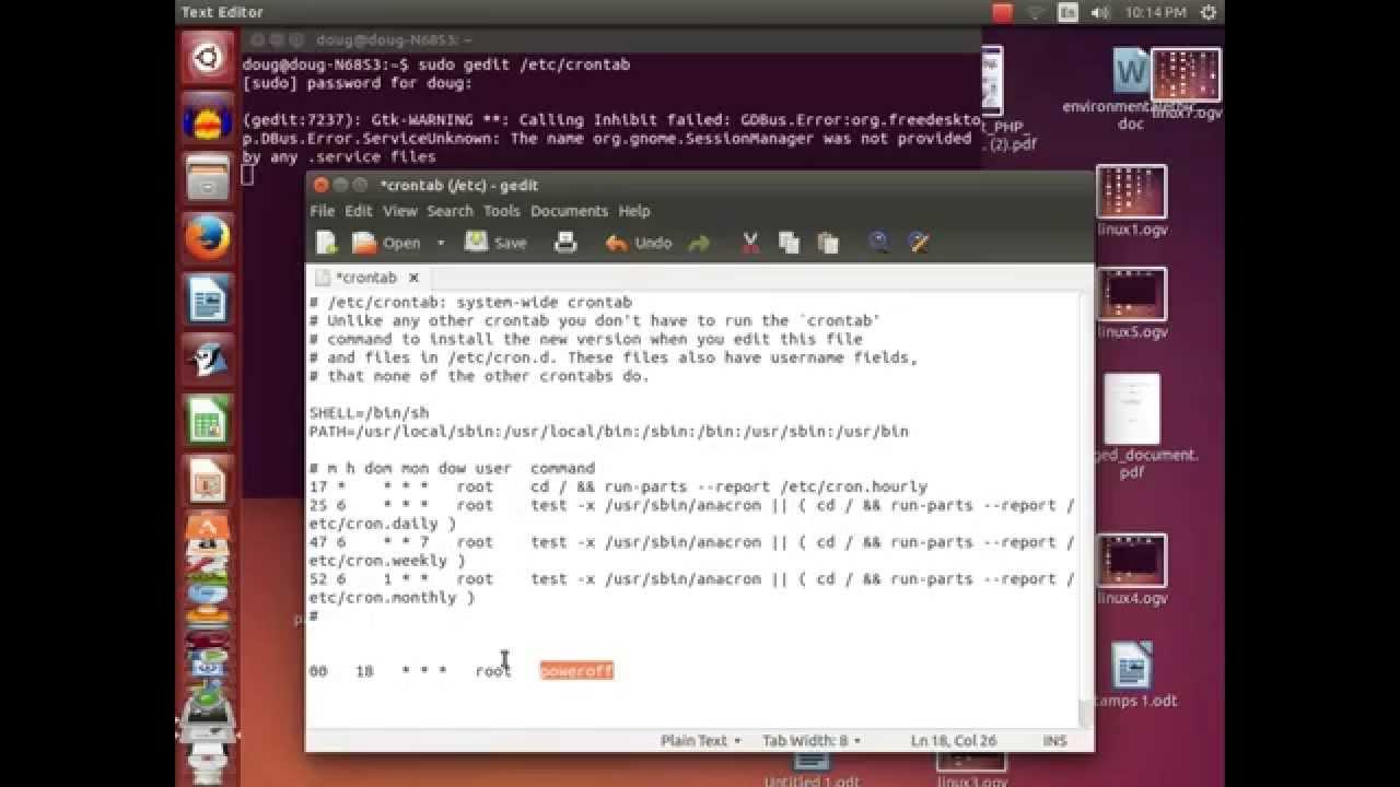 Schedule Shutdown in Ubuntu