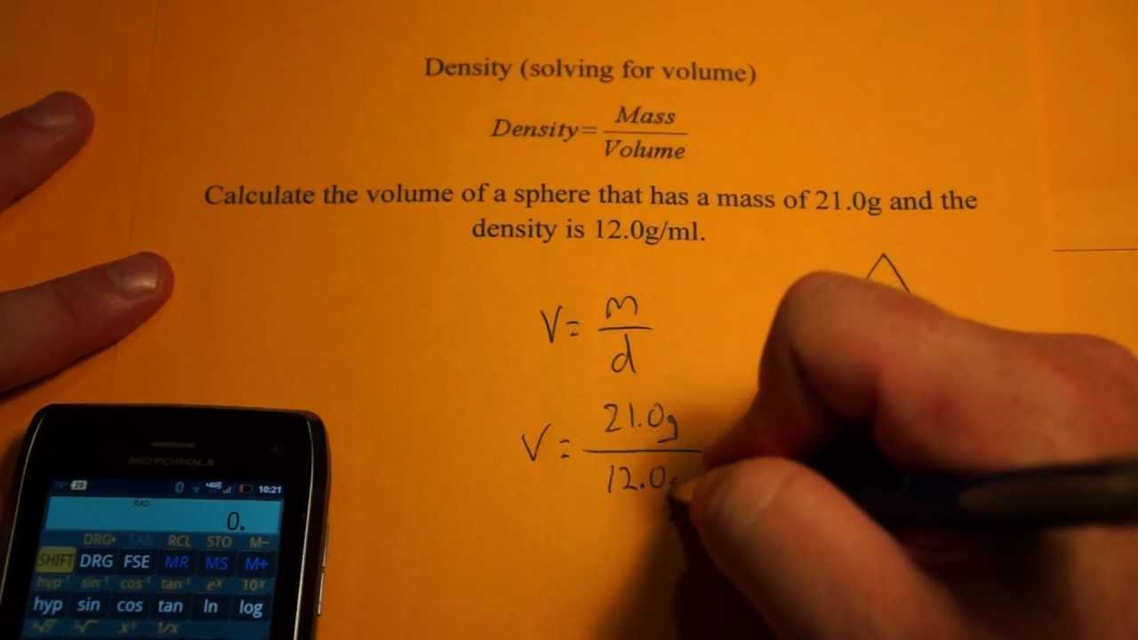 Determining Volume From Density And Mass