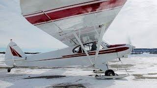 1st time Ski Flying! - Super Cub - Tail Wheel Conversion Training - POV