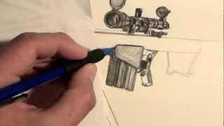 ︻╦̵̵͇̿̿̿̿╤── Speed Drawing of BARRETT .50 CAL (Pt. 2)