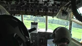 C-130 Hercules takeoff and low level flight from flight deck