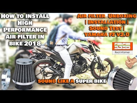 How to install High Performance air filter in bike 2018 | Unboxing | Sound Test | yamaha fz v2.0