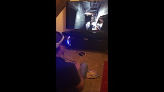 Guy Panics While Playing a Horror VR Game