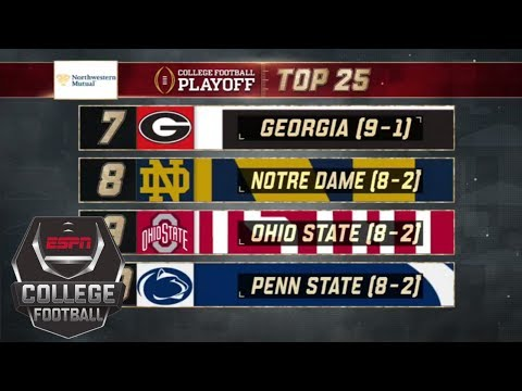 Georgia falls to No. 7 in the  college football playoff rankings