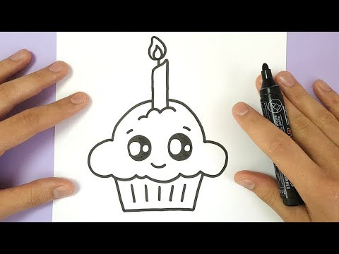HOW TO DRAW A CUTE BIRTHDAY CUPCAKE  | EASY