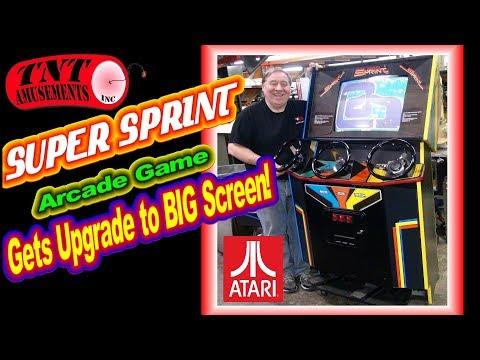"""#1381 Atari SUPER SPRINT Arcade Video Game gets 25"""" BIG SCREEN Upgrade! TNT Amusements"""