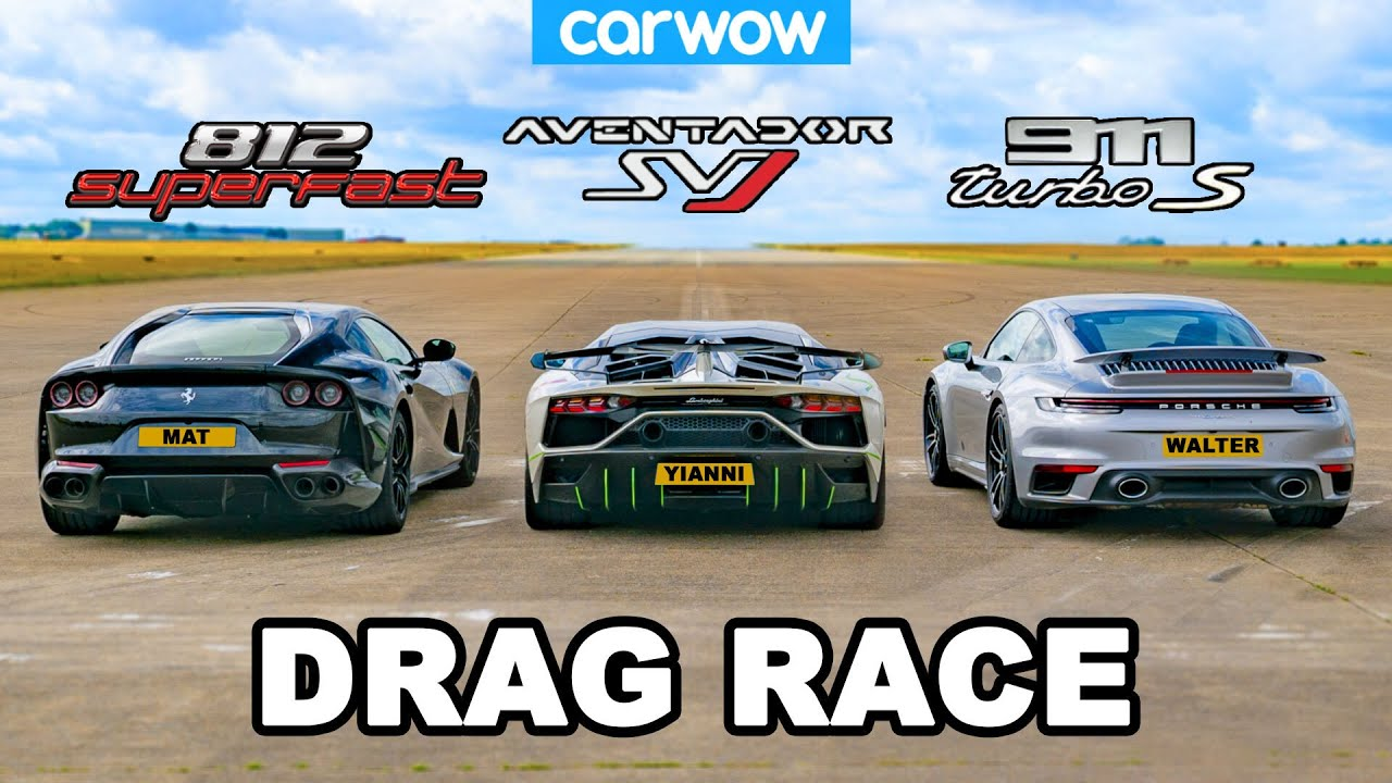 Lamborghini Aventador Svj V Ferrari 812 V Porsche 911 Turbo S Drag Race Youtube
