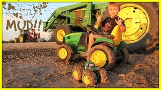 Tractors stuck in the mud | Playing with real and toy tractors on the farm for kids