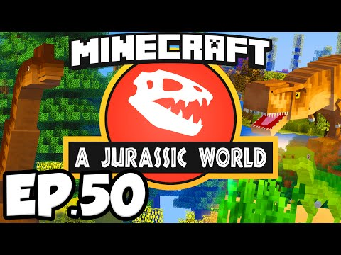 Jurassic World: Minecraft Modded Survival Ep.50 - T-REX DINOSAURS BATTLE!!! (Rexxit Modpack)