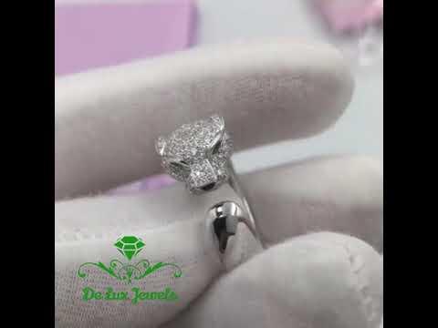 Роскошное золотое кольцо с бриллиантами Пантера