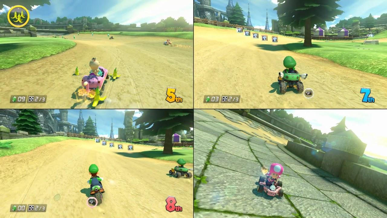 kart over split Cemu Split Screen Mario Kart 8 with people over ParSec   YouTube kart over split