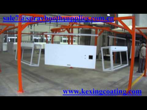 Electrostatic automatic powder coating line for small and large workpiece