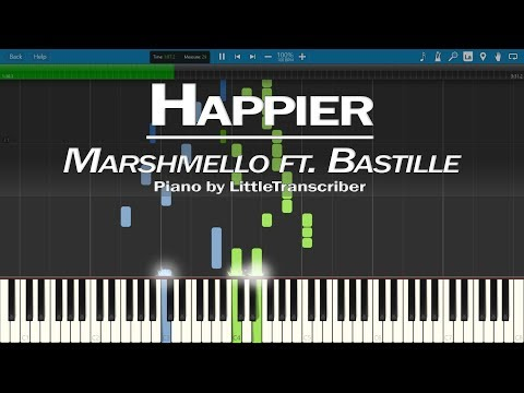 Marshmello ft. Bastille - Happier (Piano Cover) Synthesia Tutorial by LittleTranscriber