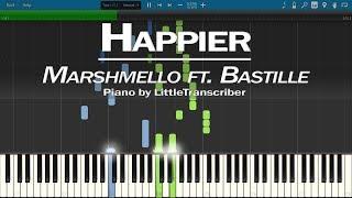 Marshmello ft. Bastille - Happier (Piano Cover) Synthesia Tutorial by LittleTranscriber