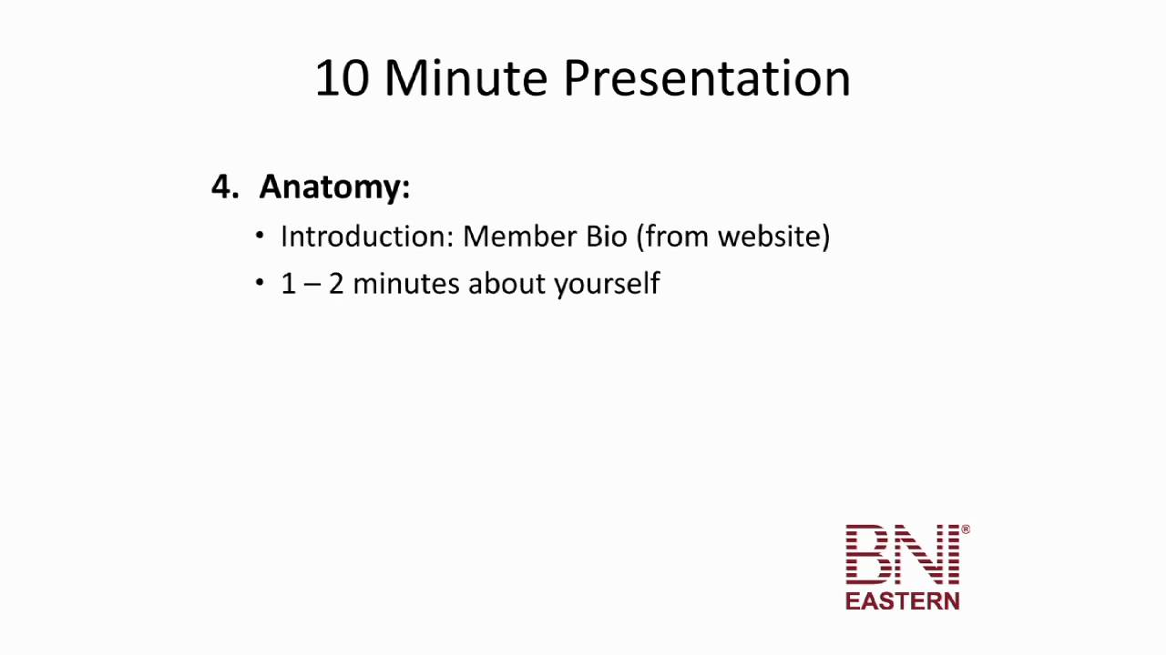 the ten minute presentation - bni eastern education - youtube, Presentation templates