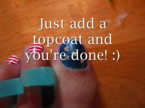 Simple 4th Of July Toenail Design Youtube
