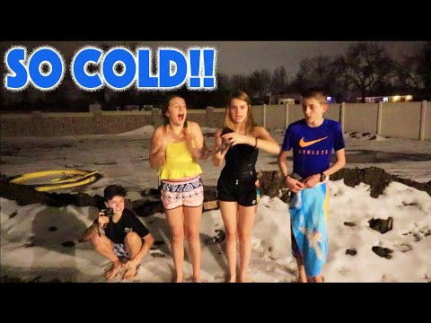Last to LEAVE THE ICE WINS!! Nighttime Cold Challenge with Zade, Daniell, and Brock & Boston