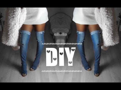 diy kim kardashian jeans overknee ganz einfach selber machen vessia p i youtube. Black Bedroom Furniture Sets. Home Design Ideas
