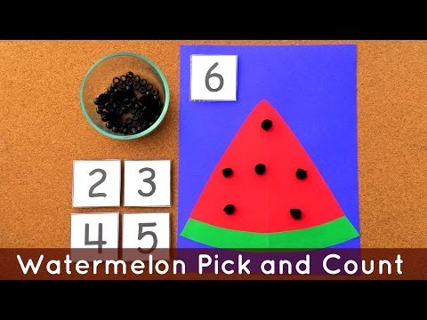 Watermelon Pick and Count - Preschool Math and Fine Motor Activity For Preschool Learning Centers