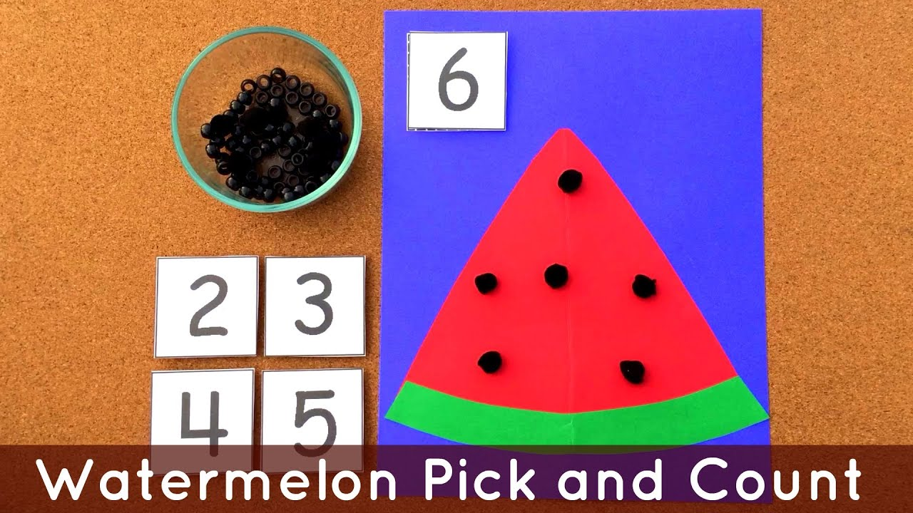 Worksheets Preschool Learning Activities watermelon pick and count preschool math fine motor activity for learning centers youtube
