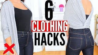 6 CLOTHING HACKS EVERY Girl SHOULD KNOW !!