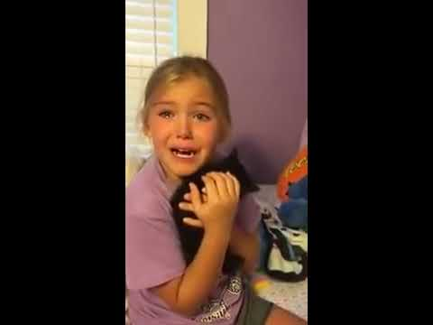 Adorable girl meets kitten for the first time and cries tears of pure joy!!