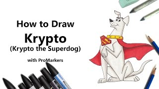 How to Draw and Color Krypto from Krypto the Superdog with ProMarkers [Speed Drawing]