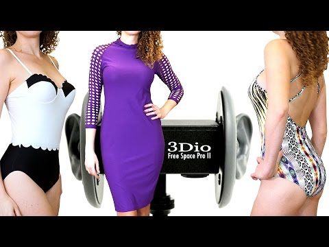 ASMR Whisper & Ear Massage, Binaural 3Dio Try On Fashion Haul, Ear Massage with Suede & Swimsuits