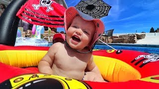 PIRATE NIKO BEAR and his inflatable ship!! Hidden Underwater Treasure and a NEW Obstacle Course!