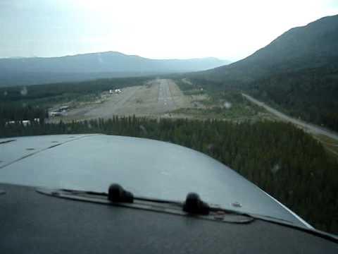 Landing Dease Lake BC Rwy 20 Cockpit View