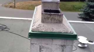 Chimney Crown Drip Edge Flashing Installation Cut in Brick Masonry
