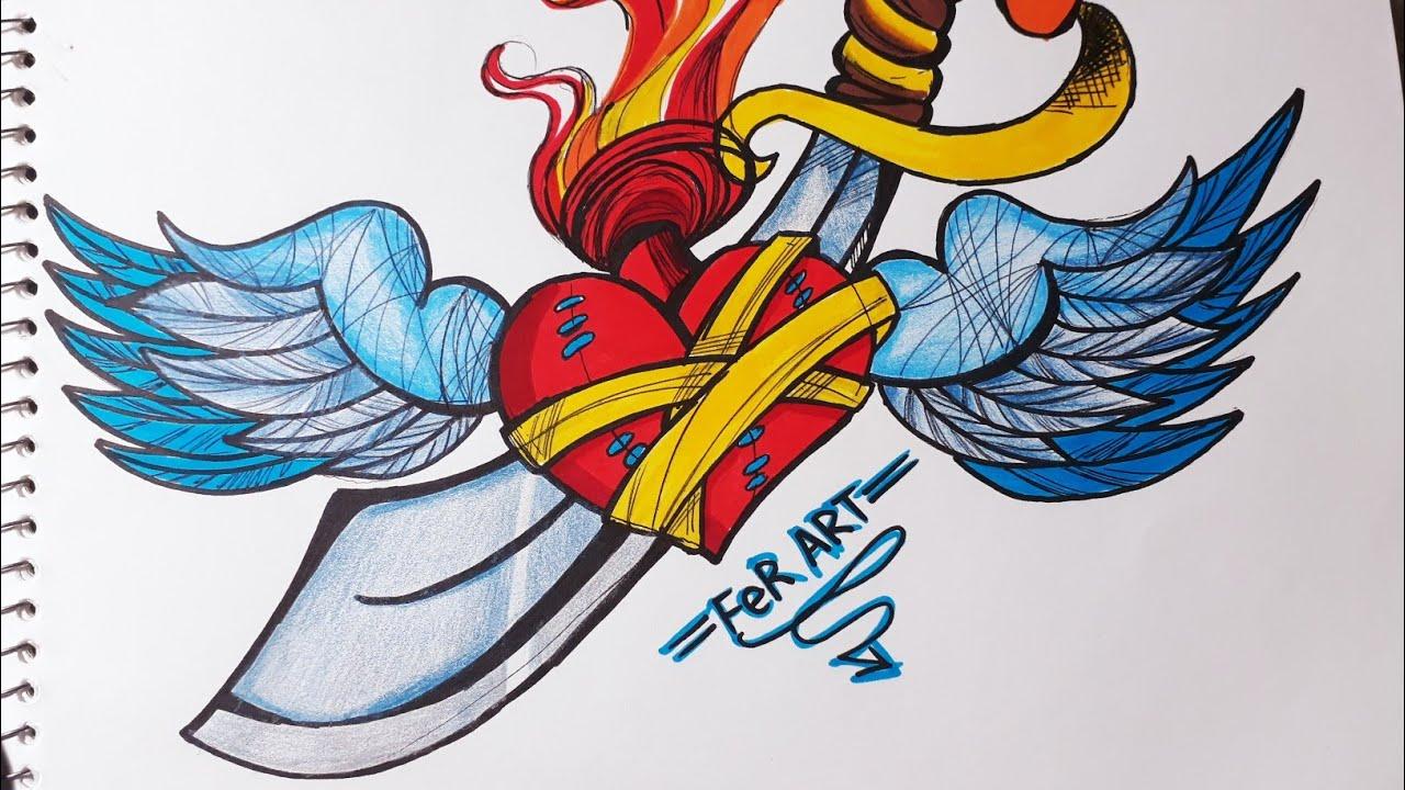 Dibujando Un Corazon Con Alas Y Espada How To Draw Heart Youtube