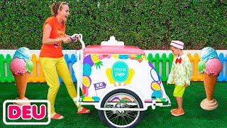 Niki vorgeben spielen Eis verkaufen und wollen neue Eiswagen