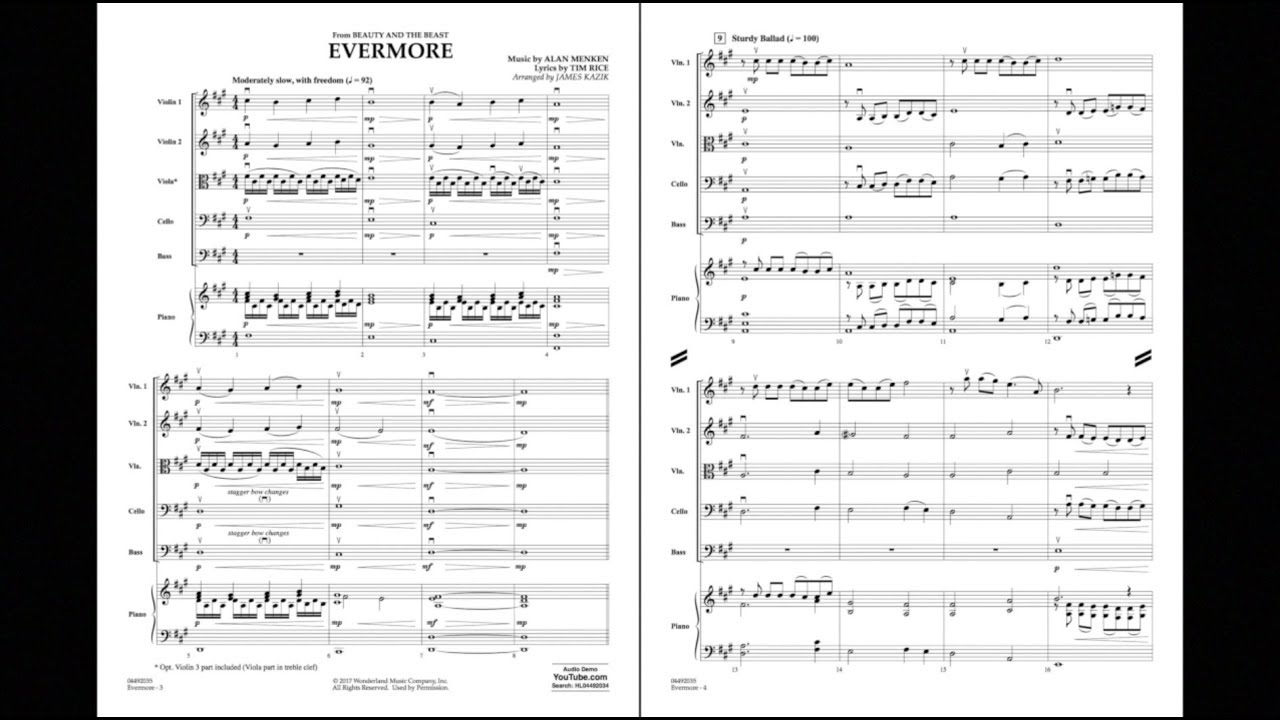Evermore From Beauty And The Beast Arr James Kazik