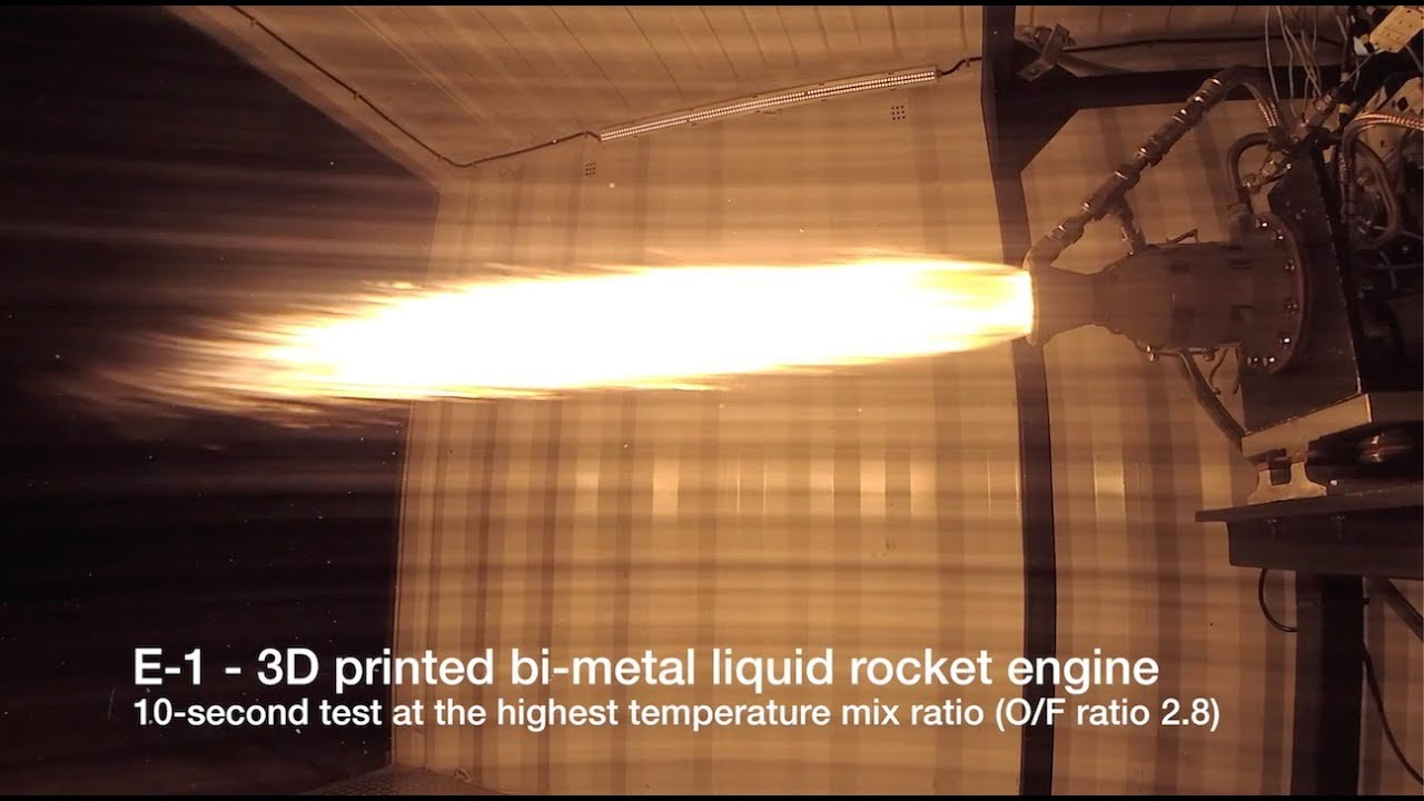 MILESTONE: Successful fire of our E-1 bi-metal highest performance 3D printed ? rocket engine.